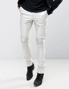 Серебристые супероблегающие брюки с байкерской отделкой ASOS - Серебряный