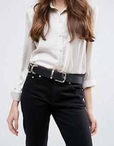 Ремень под джинсы с цепочками по бокам ASOS - Черный