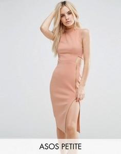 Платье миди с высокой горловиной и открытой молнией ASOS PETITE - Розовый