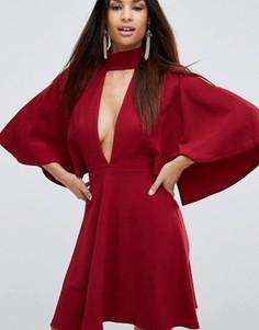Короткое платье-кимоно с глубоким вырезом и отделкой чокер ASOS - Красный