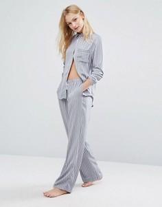 Атласная пижама в полоску DKNY - Серый