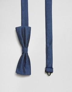 Синий маленький фактурный галстук-бабочка ASOS - Темно-синий