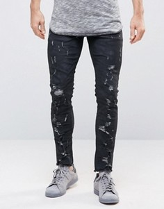 Укороченные джинсы скинни выбеленного черного цвета с покрытием ASOS - Черный