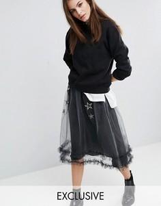Прозрачная блестящая сетчатая юбка с нашивками-звездами Reclaimed Vintage - Серебряный