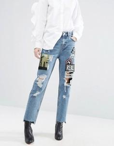 Джинсы в винтажном стиле с нашивками ASOS ORIGINAL - Синий