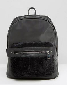 Черный рюкзак с искусственным мехом на кармане 7X - Черный