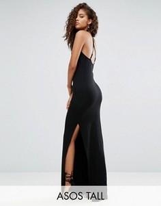 Платье макси с халтером и бретельками сзади ASOS TALL - Черный