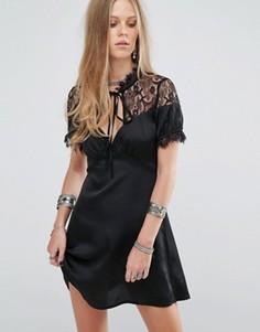 Чайное платье с кружевной отделкой Kiss The Sky - Черный