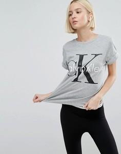 Пижамный топ в стиле ретро с круглым вырезом Calvin Klein - Серый