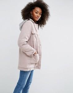 Выбеленная куртка с капюшоном ASOS - Розовый