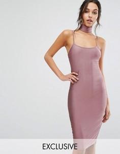 Облегающее платье миди с чокером NaaNaa - Фиолетовый