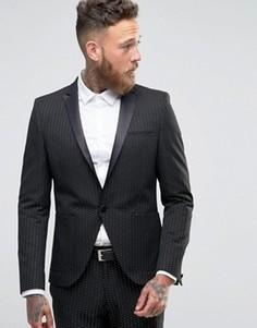 Черный пиджак скинни в горошек ASOS - Черный