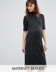 Фактурное платье для беременных с высокой горловиной и короткими рукавами Mamalicious - Серый Mama.Licious
