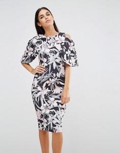 Платье-футляр с короткими рукавами и тропическим принтом Vesper - Мульти