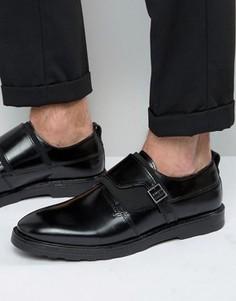 Черные кожаные монки с пряжками на ремешках ASOS - Черный