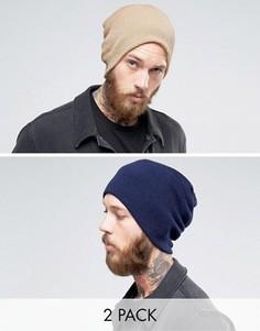 Набор из 2 свободных шапок-бини (темно-синяя/бежевая) Gregorys - Мульти