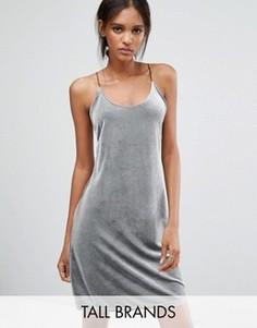 Бархатное платье в рубчик на бретельках Vero Moda Tall - Серебряный