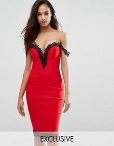 Платье миди с вырезом сердечком и кружевной отделкой Rare London - Красный