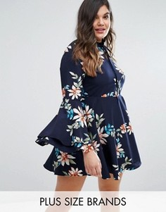 Короткое приталенное платье с цветочным принтом и расклешенными рукавами Alice & You - Мульти