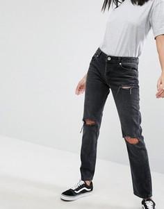 Черные выбеленные джинсы бойфренда с заниженной талией ASOS BRADY - Черный