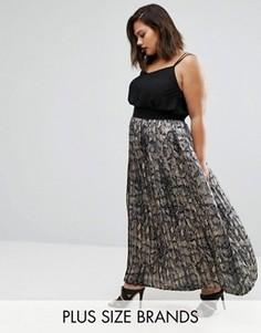 Плиссированная юбка макси со змеиным принтом Elvi Plus - Мульти