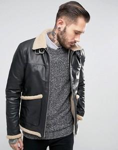 Черная кожаная куртка с подкладкой из искусственного меха ASOS - Черный