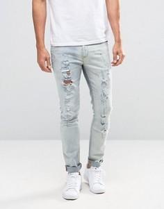 Рваные облегающие джинсы ASOS - Синий