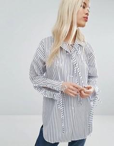 Свободная рубашка в полоску с присборенными рукавами STYLENANDA - Синий