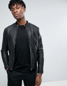 Байкерская куртка из мятой кожи Selected Homme - Черный