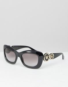 Солнцезащитные очки кошачий глаз с отделкой в виде медузы по бокам Versace - Черный