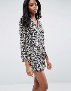 Атласная ночная сорочка с леопардовым принтом ASOS - Мульти
