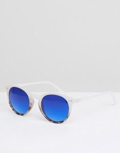 Солнцезащитные очки в круглой оправе с голубыми стеклами Jeepers Peepers - Белый
