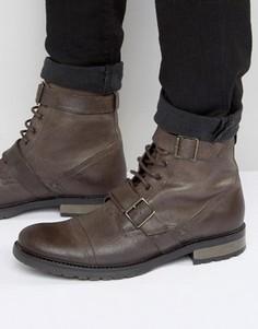 Коричневые кожаные ботинки на шнуровке с ремешком милитари ASOS - Коричневый