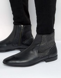 Черные кожаные ботинки челси с заклепками ASOS - Черный