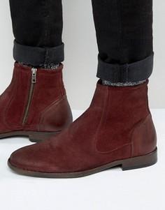 Бордовые замшевые ботинки челси с кожаной отделкой ASOS - Красный