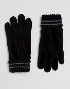 Замшевые перчатки с вязаной отделкой Esprit - Черный