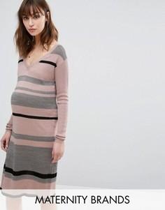 Трикотажное платье в полоску Mamalicious - Мульти Mama.Licious