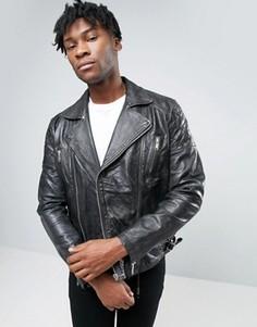 Черная кожаная байкерская куртка со стеганым дизайном ASOS - Черный