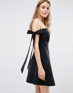 Платье с открытыми плечами и бантиками Keepsake - Черный