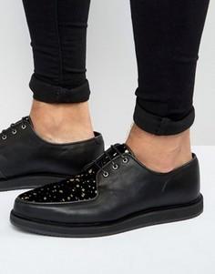 Черные кожаные туфли в золотистую крапинку ASOS - Черный