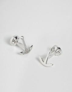 Серебристые запонки с якорем Noose & Monkey - Серебряный