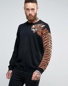 Джемпер с тигровым принтом на рукавах и отделкой металлизированной нитью ASOS - Черный