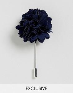 Булавка на лацкан с цветком Noose & Monkey - Темно-синий