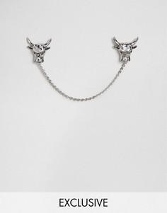 Серебристые уголки для воротника с цепочкой Noose & Monkey Cattle - Серебряный