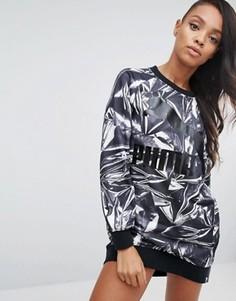 Трикотажное платье с графическим принтом Puma - Серый