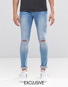 Светлые рваные супероблегающие джинсы Brooklyn Supply Co Dyker - Синий