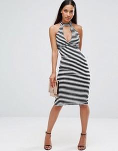 Облегающее платье миди в полоску AX Paris - Черный