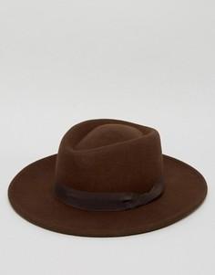 Шляпа шоколадного цвета с плоской круглой тульей и лентой ASOS - Коричневый