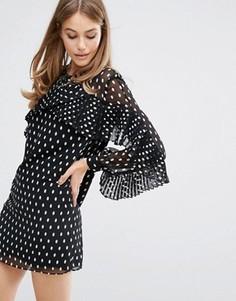 Платье в горошек с плиссировкой Keepsake - Черный
