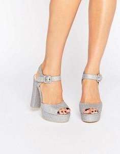 Серебристые сандалии на каблуке и платформе Public Desire Bonita - Серебряный